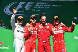 Podium: winner Sebastian Vettel, Ferrari, second place Valtteri Bottas, Mercedes AMG F1, third place