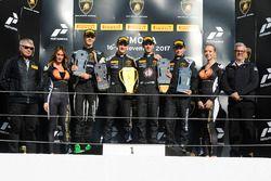 Podium North America: race winners Trent Hindman, Riccardo Agostini, Prestige Performance, second place Jeroen Mul, Change Racing, third place Brandon Gdovic, DAC Motorsport