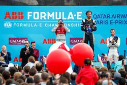 Jean-Eric Vergne, Techeetah, wins the Paris ePrix, Lucas di Grassi, Audi Sport ABT Schaeffler, finishes 2nd, Sam Bird, DS Virgin Racing, in 3rd