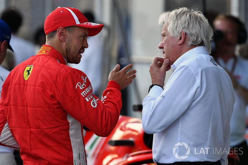 Sebastian Vettel, Ferrari and Charlie Whiting, FIA Delegate