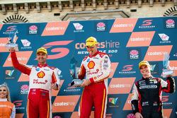Podium: second place Fabian Coulthard, Team Penske Ford, Race winner Scott McLaughlin, Team Penske Ford, third place Tim Slade, Brad Jones Racing Holden