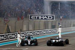 Valtteri Bottas, Mercedes AMG F1 W08 and Lewis Hamilton, Mercedes AMG F1 W08, celebrate after the ra