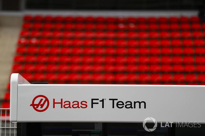 The Haas F1 Team's logo on their pit gantry