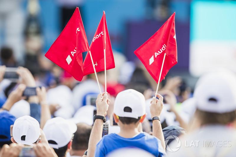 Audi flags at the podium