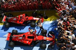 Race winner Sebastian Vettel, Ferrari and Kimi Raikkonen, Ferrari celebrate in parc ferme