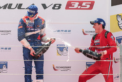 Podium: race winner Egor Orudzhev, SMP Racing by AVF, third place Alfonso Celis Jr., Fortec Motorsports