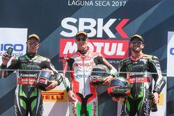 Yarış galibi Chaz Davies, Ducati Team, 2. Jonathan Rea, Kawasaki Racing, 3. Tom Sykes, Kawasaki Raci