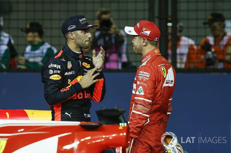 Pole sitter Sebastian Vettel, Ferrari celebra en parc ferme, Daniel Ricciardo, Red Bull Racing
