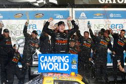Kaz Grala, GMS Racing Chevrolet celebrates in Victory Lane