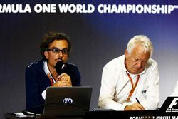 Laurent Mekies, F1 Deputy Race Director, FIA, Charlie Whiting, FIA Race Director host a press conference about the introduction of the halo
