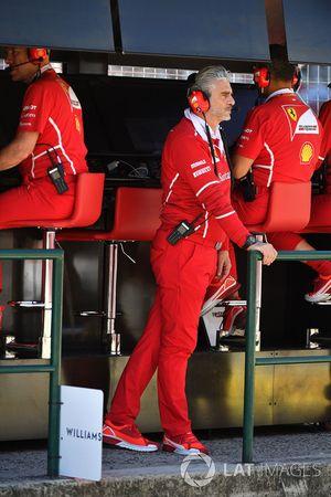 Maurizio Arrivabene, Ferrari Team Principal on the pitwall gantry
