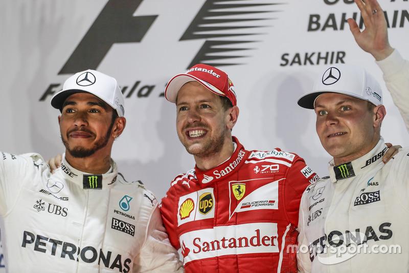 Lewis Hamilton, Mercedes AMG, second place, Sebastian Vettel, Ferrari, race winner, Valtteri Bottas, Mercedes, third place, on the podium