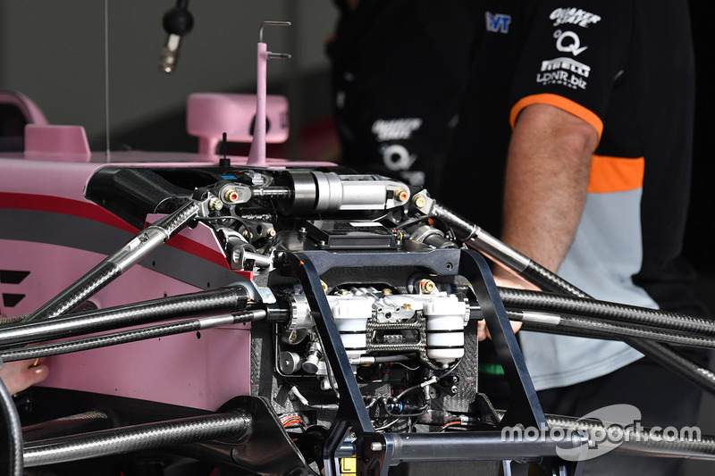 Force India VJM10 front suspension and chassis detail