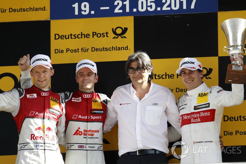 Podium: Race winner Jamie Green, Audi Sport Team Rosberg, Audi RS 5 DTM, second place Mattias Ekström, Audi Sport Team Abt Sportsline, Audi A5 DTM, third place Robert Wickens, Mercedes-AMG Team HWA, Mercedes-AMG C63 DTM