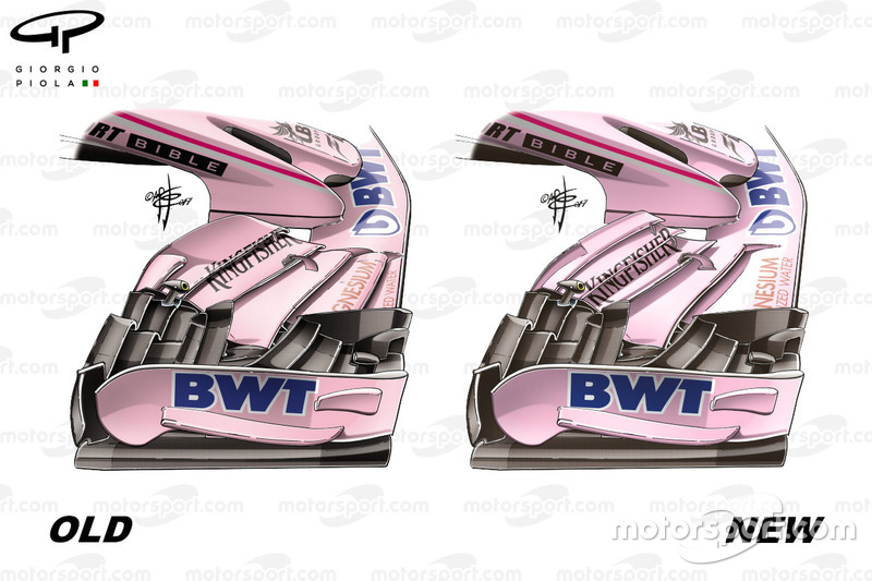 Force India VJM10 front wing comparison, old vs new