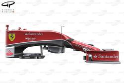 Vue de côté de la Ferrari F14 T, sans roue ni suspensions pour montrer la marche sur le châssis