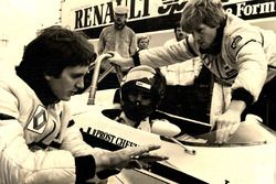 Giorgio Piola with Eddie Cheever testing the Renault RE30B at Paul Ricard in 1982