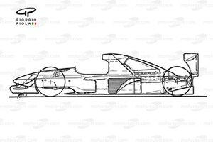 Brabham BT60Y 1991, vista laterale schematizzata
