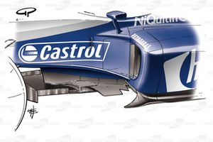 Williams FW26 sidepod/floor leading edge devices adjusted