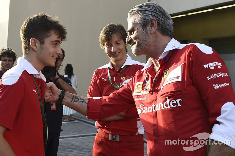 Charles Leclerc, Maurizio Arrivabene, director del equipo Ferrari