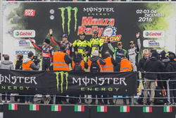 Podium: winners Valentino Rossi, Carlo Cassina, second place Daniel Sordo, Marc Marti, third place M