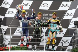 Podium: second place Fabio Di Giannantonio, Del Conca Gresini Racing Moto3, Race winner Andrea Migno