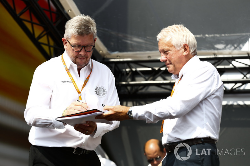 Ross Brawn, Managing Director of Motorsports, FOM,and Charlie Whiting, FIA Race Director, on stage