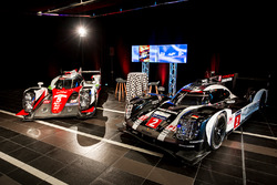 Toyota and Porsche LMP1 cars on display