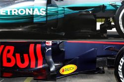 Red Bull Racing RB13 and Mercedes AMG F1 W08 sidepod comparison