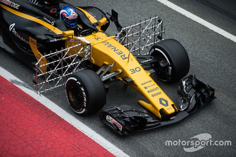 Jolyon Palmer, Renault Sport F1 Team RS17 avec des capteurs