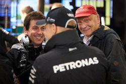 Toto Wolff, Executive Director Mercedes AMG F1, Niki Lauda, Non-Executive Chairman, Mercedes AMG F1, Valtteri Bottas, Mercedes AMG F1