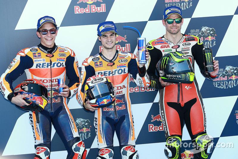 Polesitter Dani Pedrosa, Repsol Honda Team, second place Marc Marquez, Repsol Honda Team, third place Cal Crutchlow, Team LCR Honda