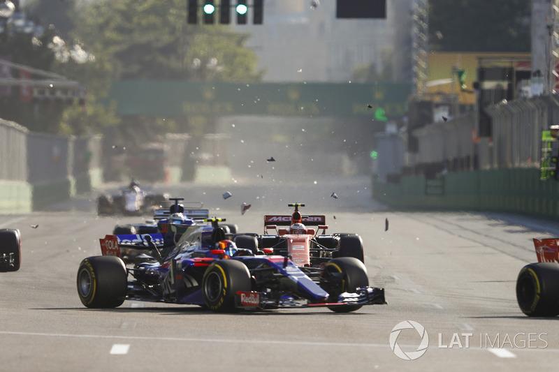 A dupla da Toro Rosso não se encontrou, mas um acabou atrapalhando o outro ainda na primeira volta.