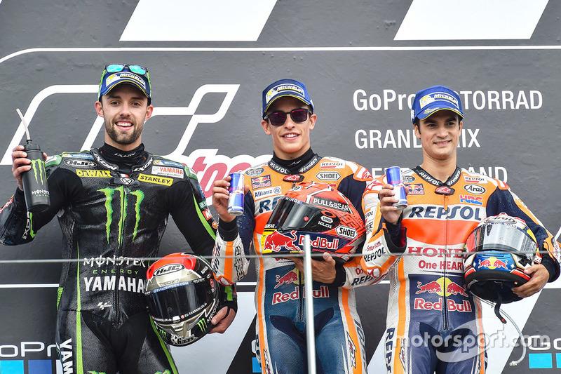 Le podium du GP d'Allemagne 2017 : Marc Márquez, Jonas Folger, Dani Pedrosa