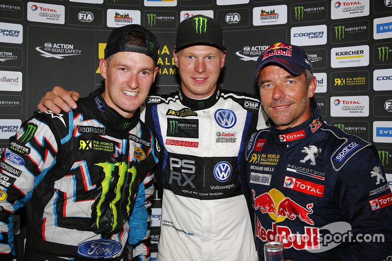 Podium: winner Johan Kristoffersson, Volkswagen Team Sweden, second place Andreas Bakkerud, Hoonigan Racing Division Ford, third place Sébastien Loeb, Team Peugeot Hansen