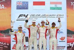 Podium: race winner Presley Martono, second place Faine Kahia, third place Akash Gowda