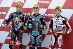 Top 3 after qualifying; Aron Canet, Estrella Galicia 0,0, Honda; Brad Binder, Red Bull KTM Ajo, KTM;