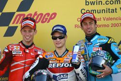 Podium: Race winner Dani Pedrosa, Repsol Honda; second place Casey Stoner, Ducati; third place John Hopkins, Suzuki