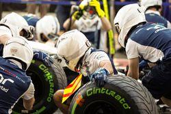 El equipo Williams practica sus paradas en boxes
