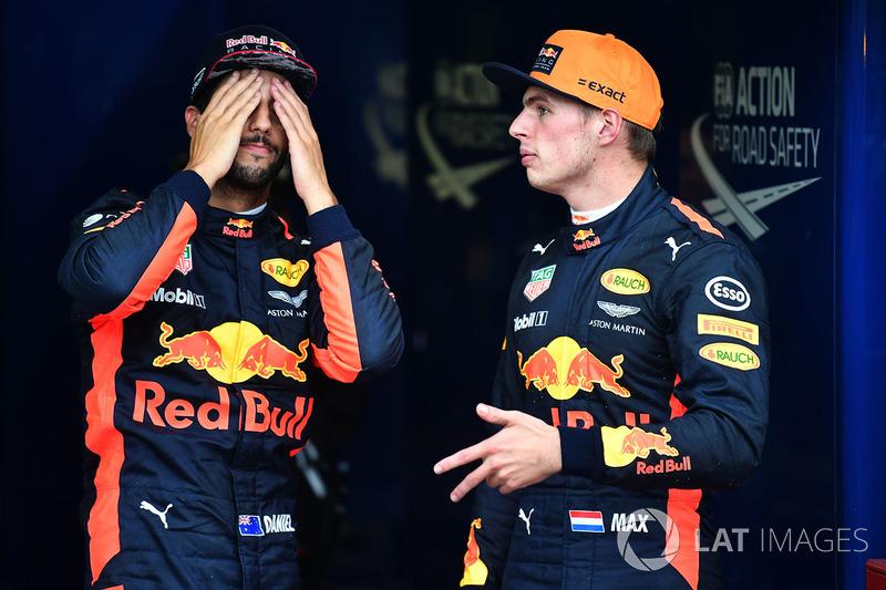 Daniel Ricciardo, Red Bull Racing et Max Verstappen, Red Bull Racing dans le parc fermé