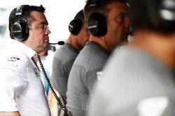 Eric Boullier, Racing Director, McLaren, on the pit gantry