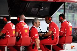 Maurizio Arrivabene, Ferrari Team Principal and the Ferrari pit wall gantry