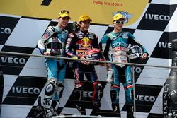Podium: second place Pol Espargaro, Race winner Marc Marquez, third place Nicolás Terol