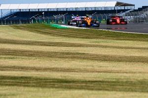 Lando Norris, McLaren MCL35, Lance Stroll, Racing Point RP20, and Charles Leclerc, Ferrari SF1000