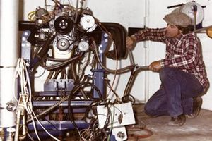 Engine builder Maurice Petty prepares an engine to be run on the dynamometer at the Petty Enterprises shops in Randleman, North Carolina