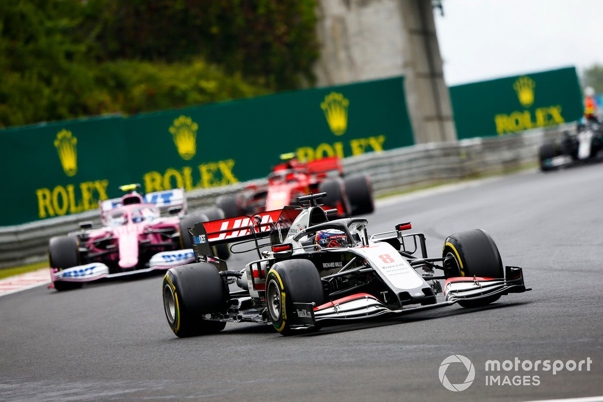 Romain Grosjean, Haas VF-20, Lance Stroll, Racing Point RP20