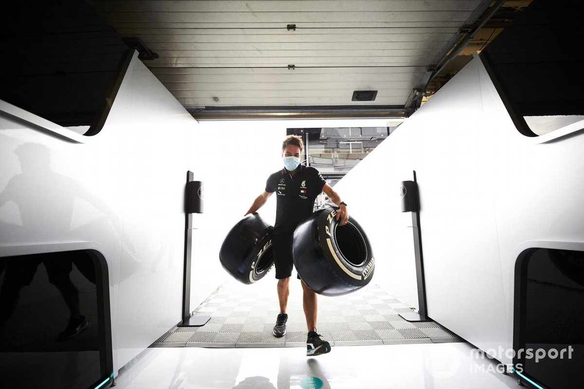 Mercedes mechanic with Pirelli tyres