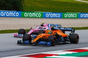 Lando Norris, McLaren MCL35, leads Lance Stroll, Racing Point RP20
