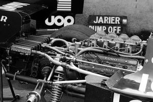 A radiator attached to the Ford Cosworth DFV engine at the rear of the Shadow DN3 of Peter Revson
