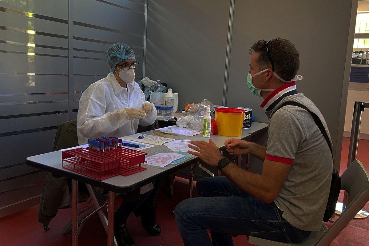 Prueba de serología en la fábrica de la Scuderia Alpha Tauri